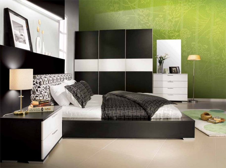 Contemporary Bedrooms for New Girl Bedroom Floral Green Wallpaper 915x683