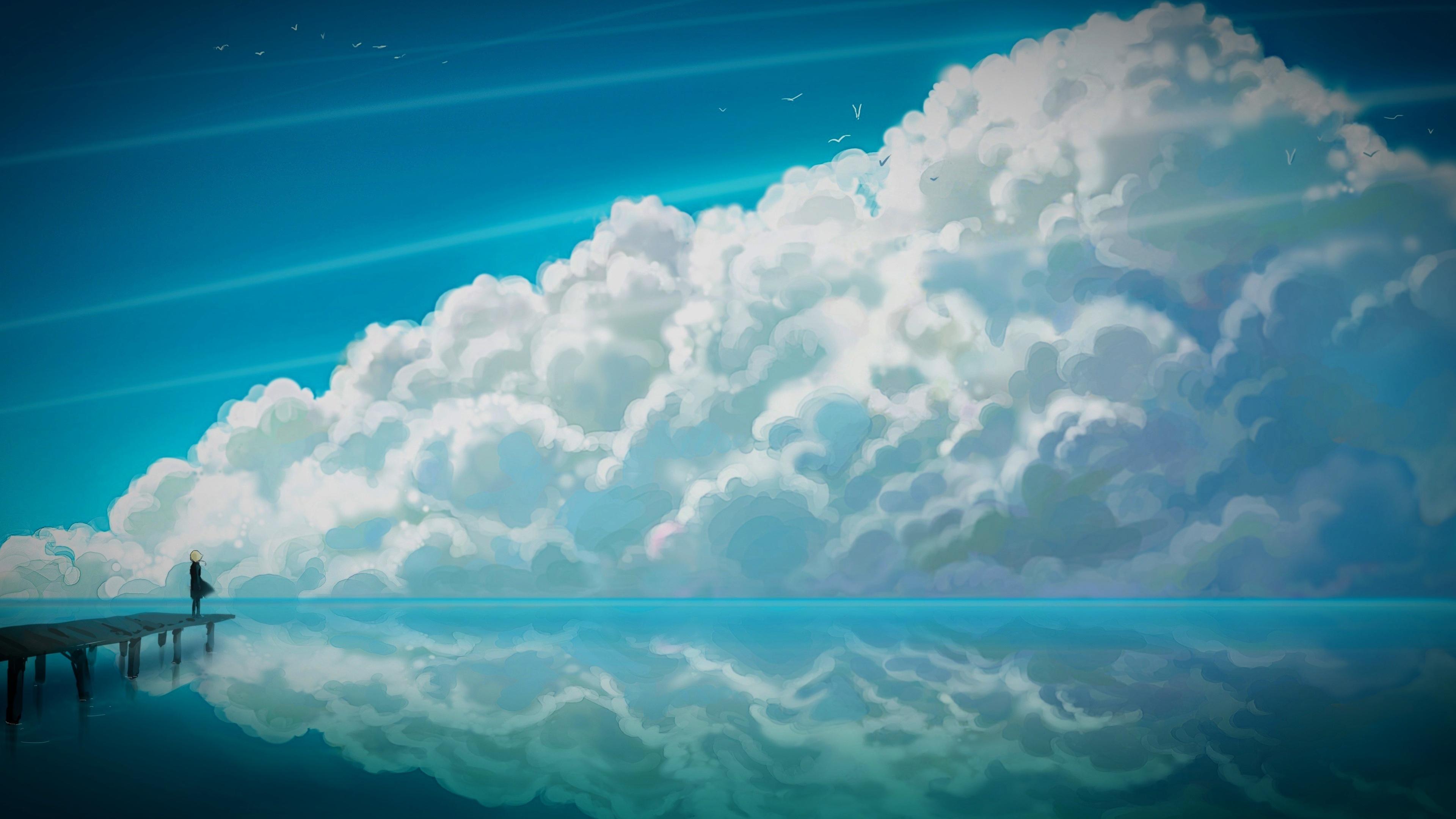 Blue Anime Sky 3840 x 2160 3840x2160
