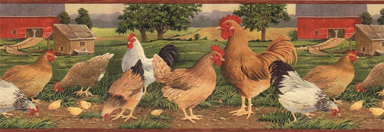 Details about COUNTRY CHICKEN FARM ROOSTER Wallpaper Border AFR7106 770x265