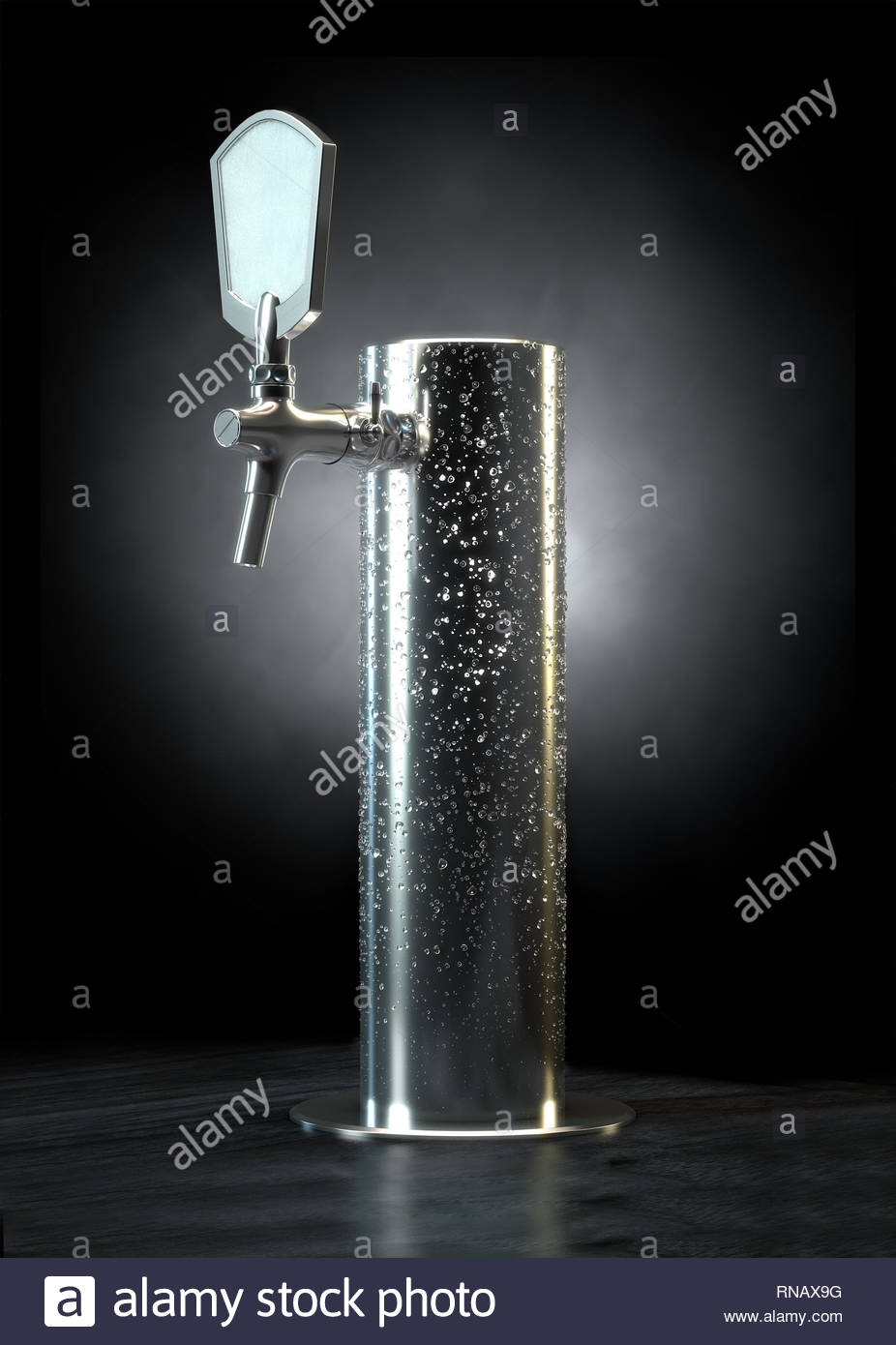 A regular chrome draught beer tap with cold condensation on an 926x1390