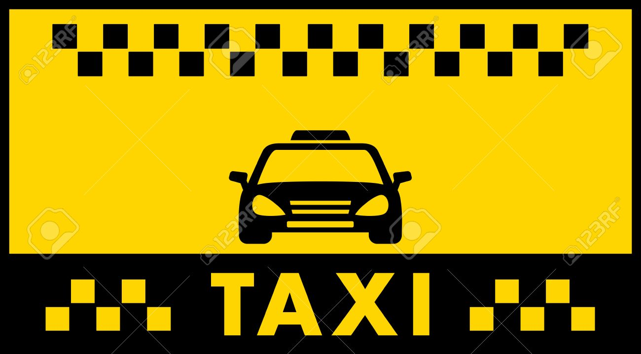 Advertise Taxi Background With Black Cab Car Silhouette Royalty 1300x718