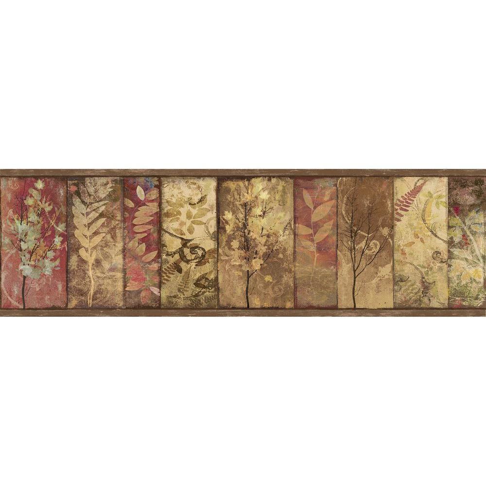 Chesapeake Lillinonah Brown Foliage Wallpaper Border Sample 1000x1000