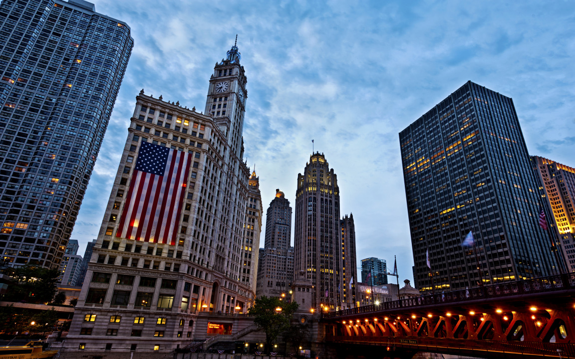 American Flag in Chicago Illinois United States widescreen 1152x720