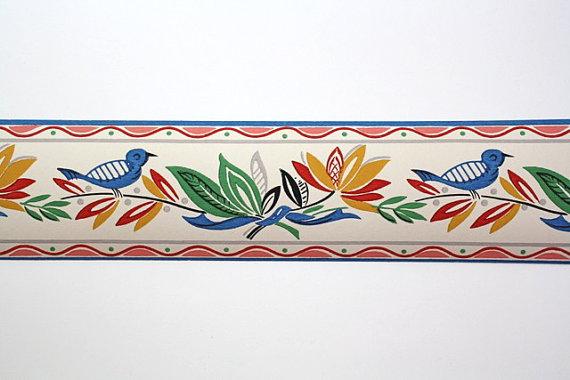 Vintage Wallpaper Border  TRIMZ  Blue Bird Kitchen Pattern Red Blue 570x380