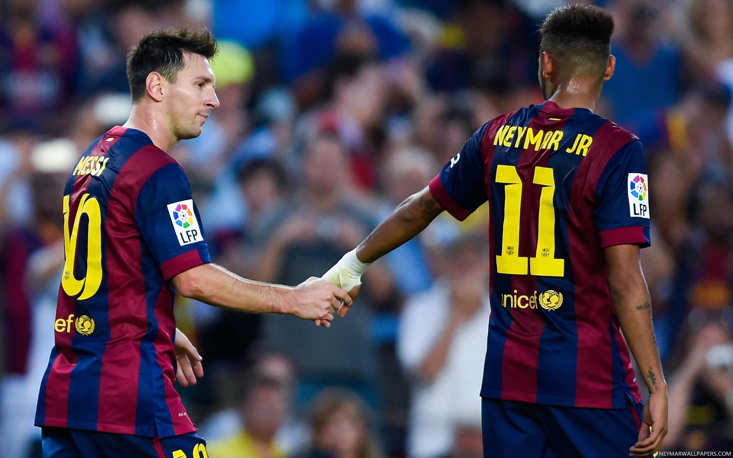 Neymar and Messi holding hands   Neymar Wallpapers 2560x1600