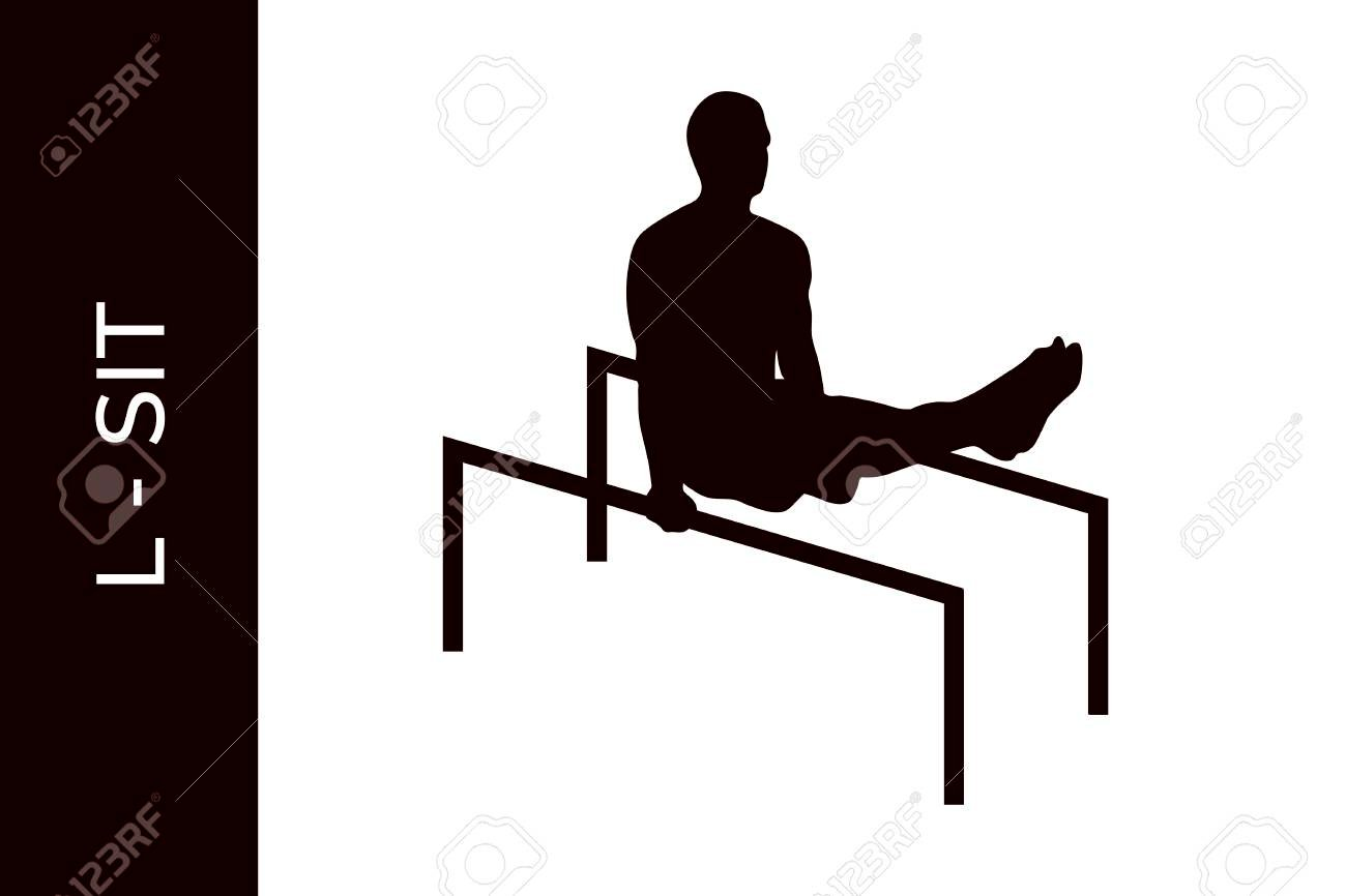 Male Silhouette Doing Calisthenics L sits Exercise Isolated On 1300x866