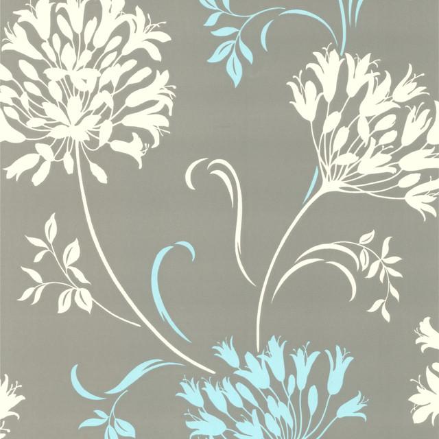 Nerida Light Gray Floral Silhouette Wallpaper contemporary wallpaper 640x640