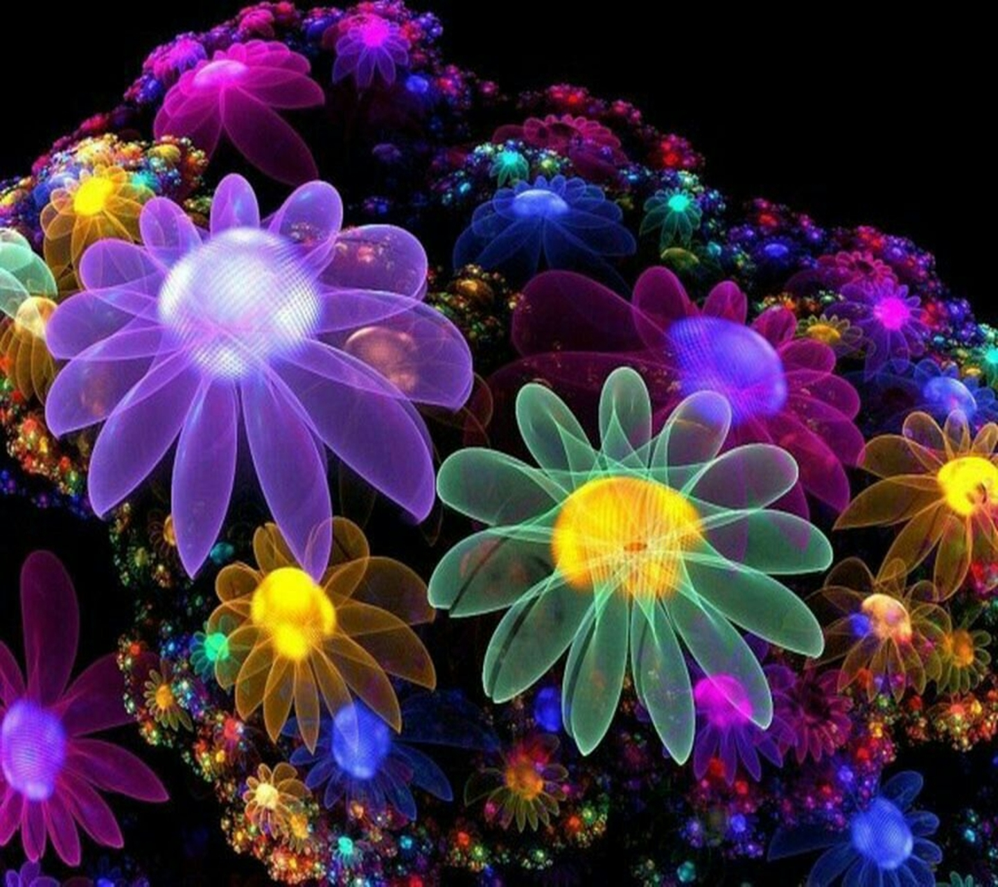 Neon Flower Wallpaper Purple 1440x1280