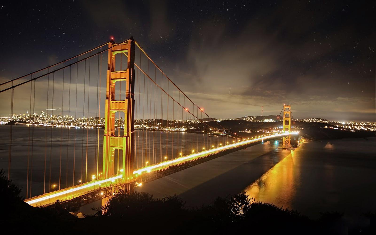 Wallpaper van de Golden Gate Bridge bij nacht 1600x1000