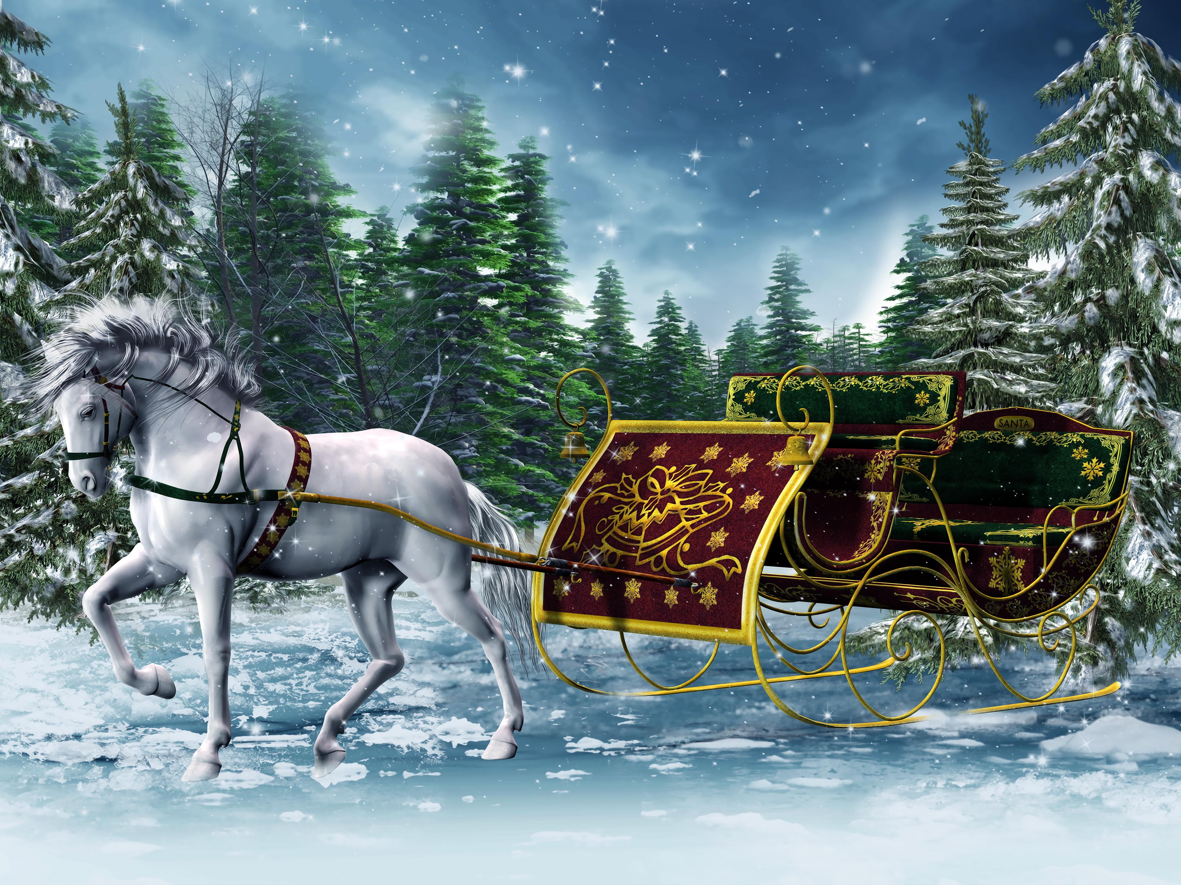 Sleigh 3d horse winter graphics wallpaper 4000x3000 228478 4000x3000