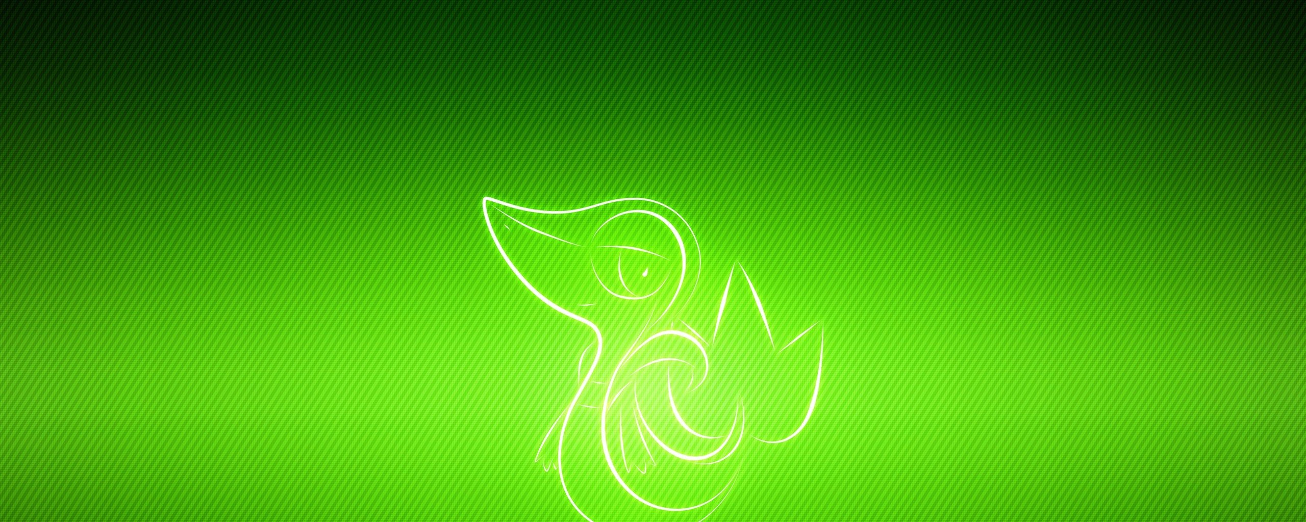Pokemon Poultry Snivy Wallpaper Background Dual Monitor Resolution 2560x1024