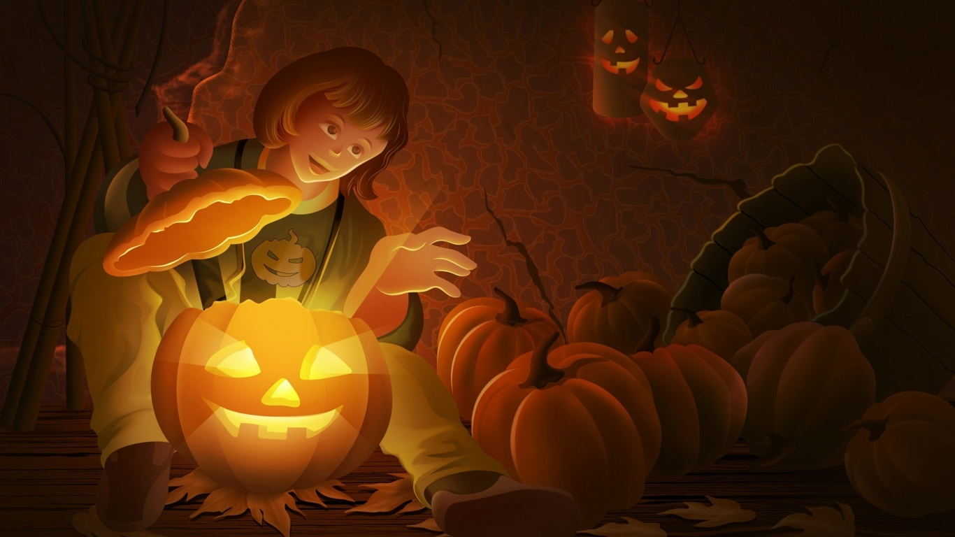 Pin Wallpaper Detail Cool Halloween Pumpkin 1366x768
