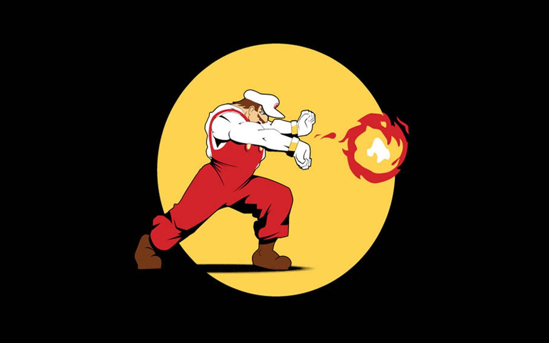 Super Mario illustration video games Super Mario fireballs 1920x1200