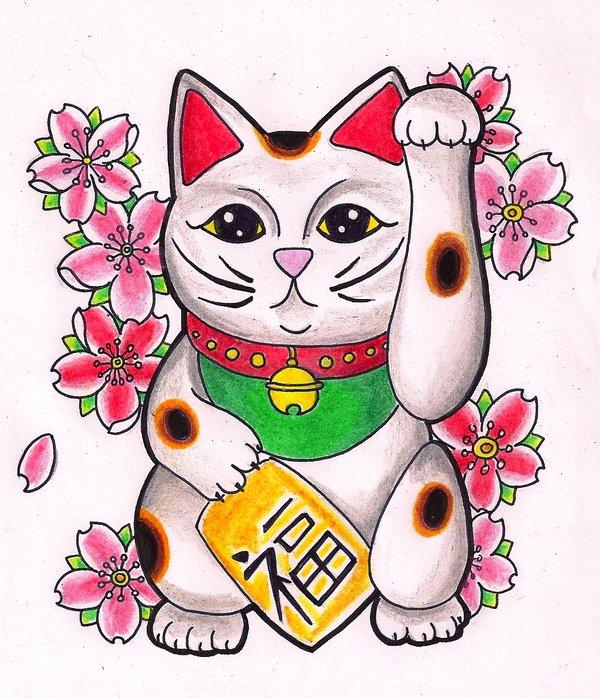 Japanese Good Luck Cat Wallpaper Lucky cat by kirzten 600x699