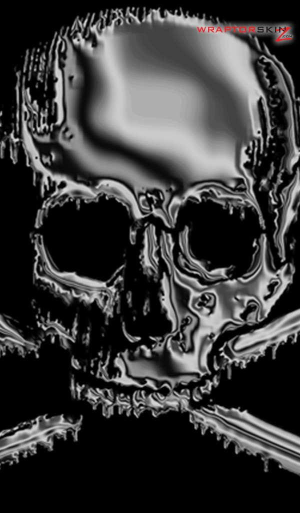 Amazon Kindle Fire Original Decal Style Skin   Chrome Skull on Black 600x1024