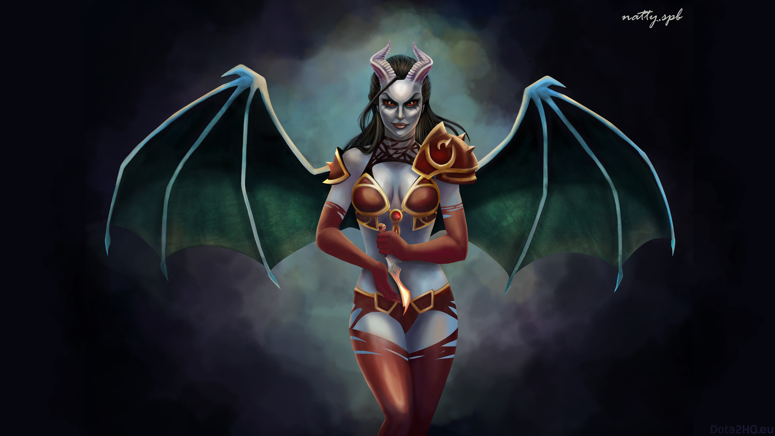 Heroes are illustrated on this Dota 2 wallpaper Queen of Pain 2560x1440
