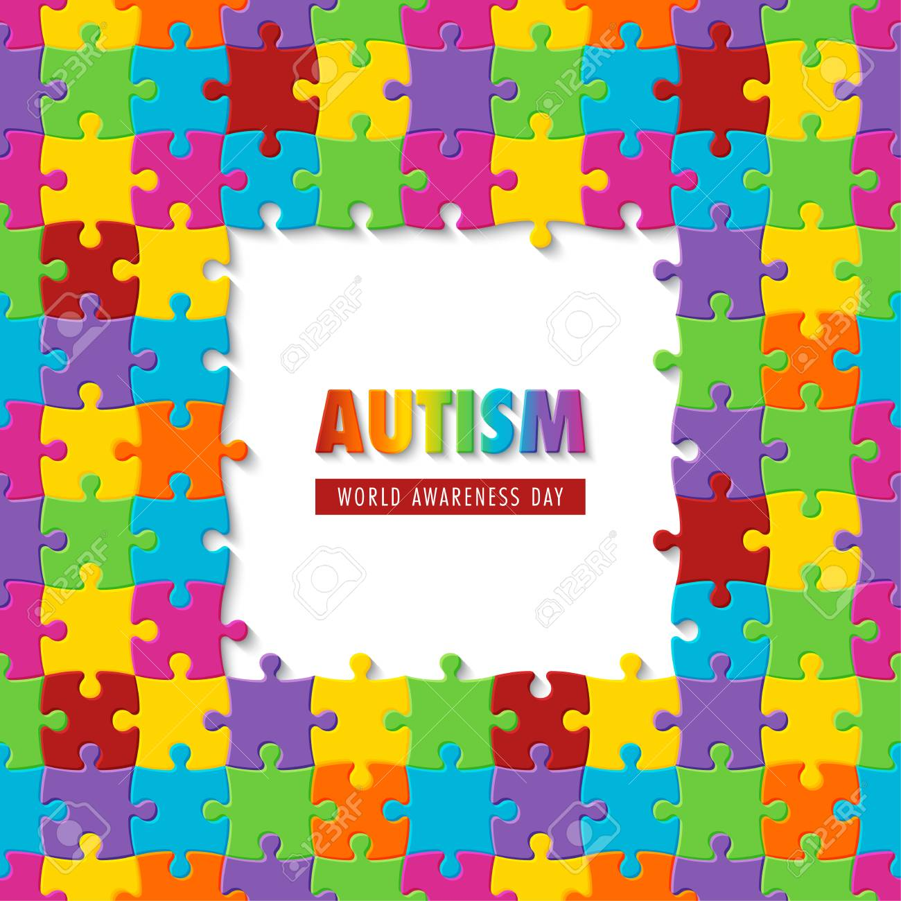 World Autism Awareness Day Colorful Puzzle Background Symbol 1300x1300