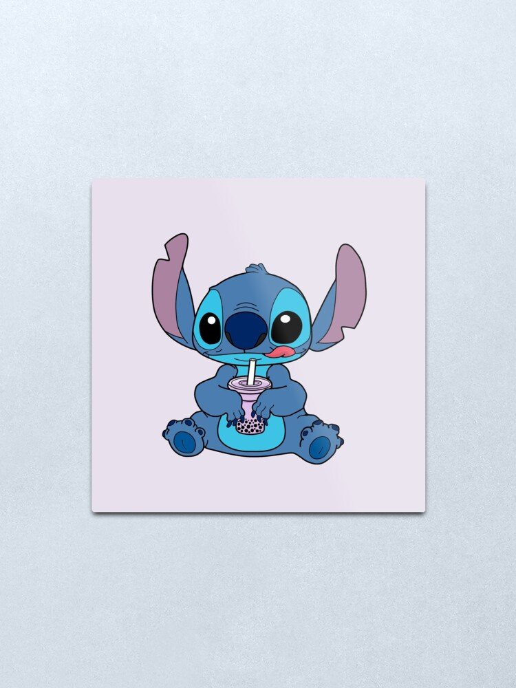 Stitch With Taro Boba Drink Metal Print by lojains Redbubble 750x1000