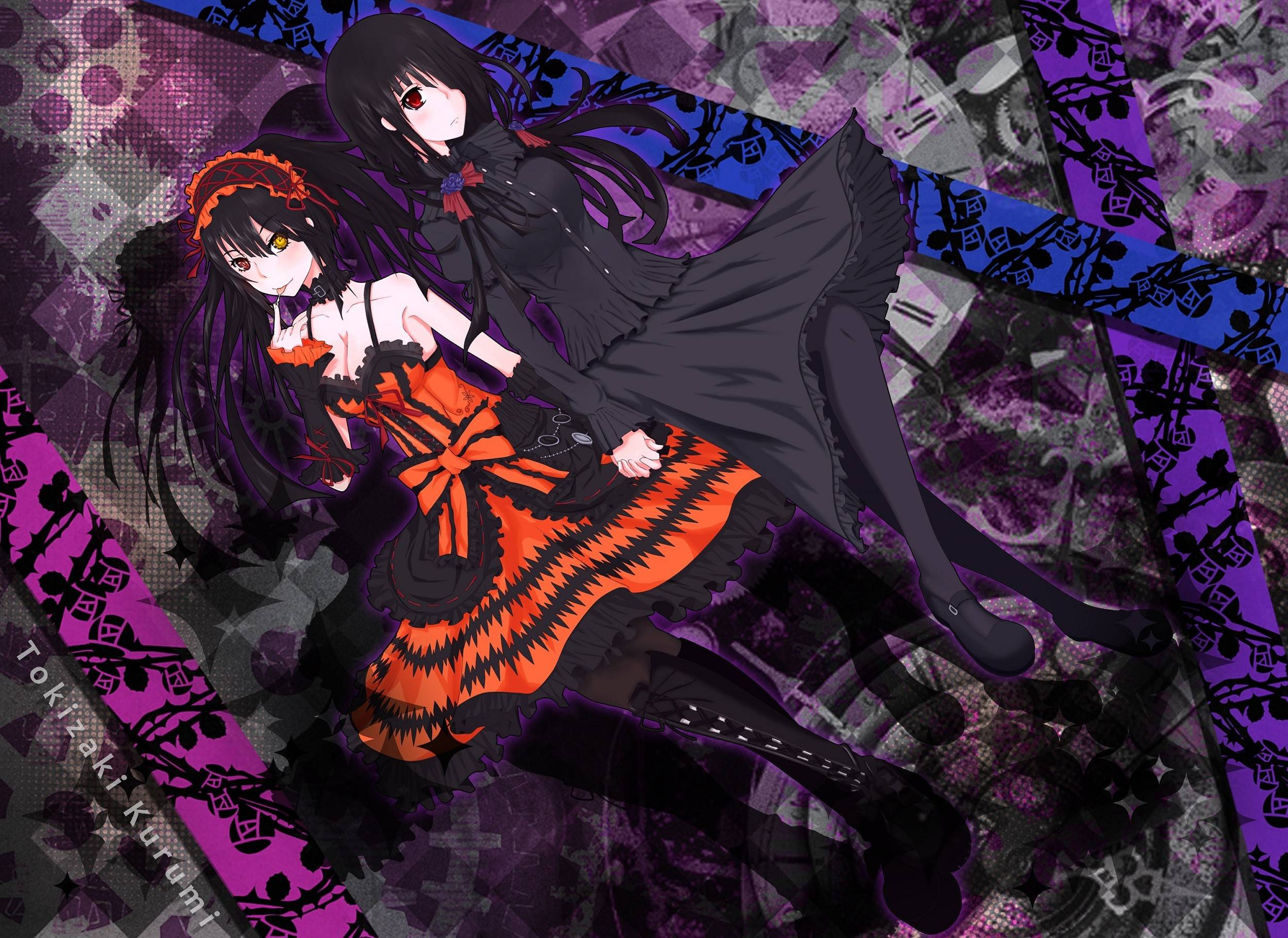 kurumi with shiizaki dark   Date A Live Wallpaper 2500x1821