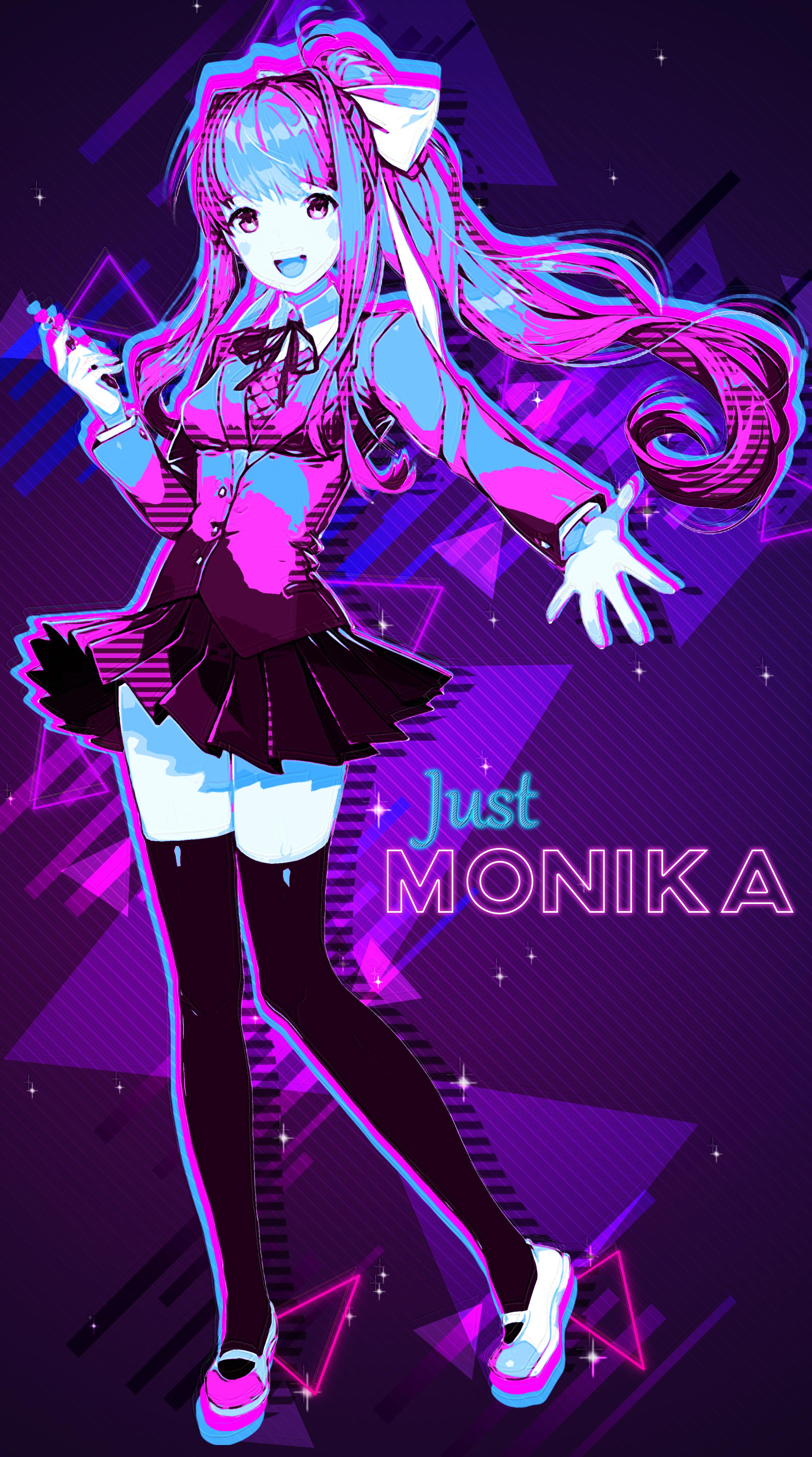 a very trippy 1980s monika wallpaper i made while messing around 2508x4500