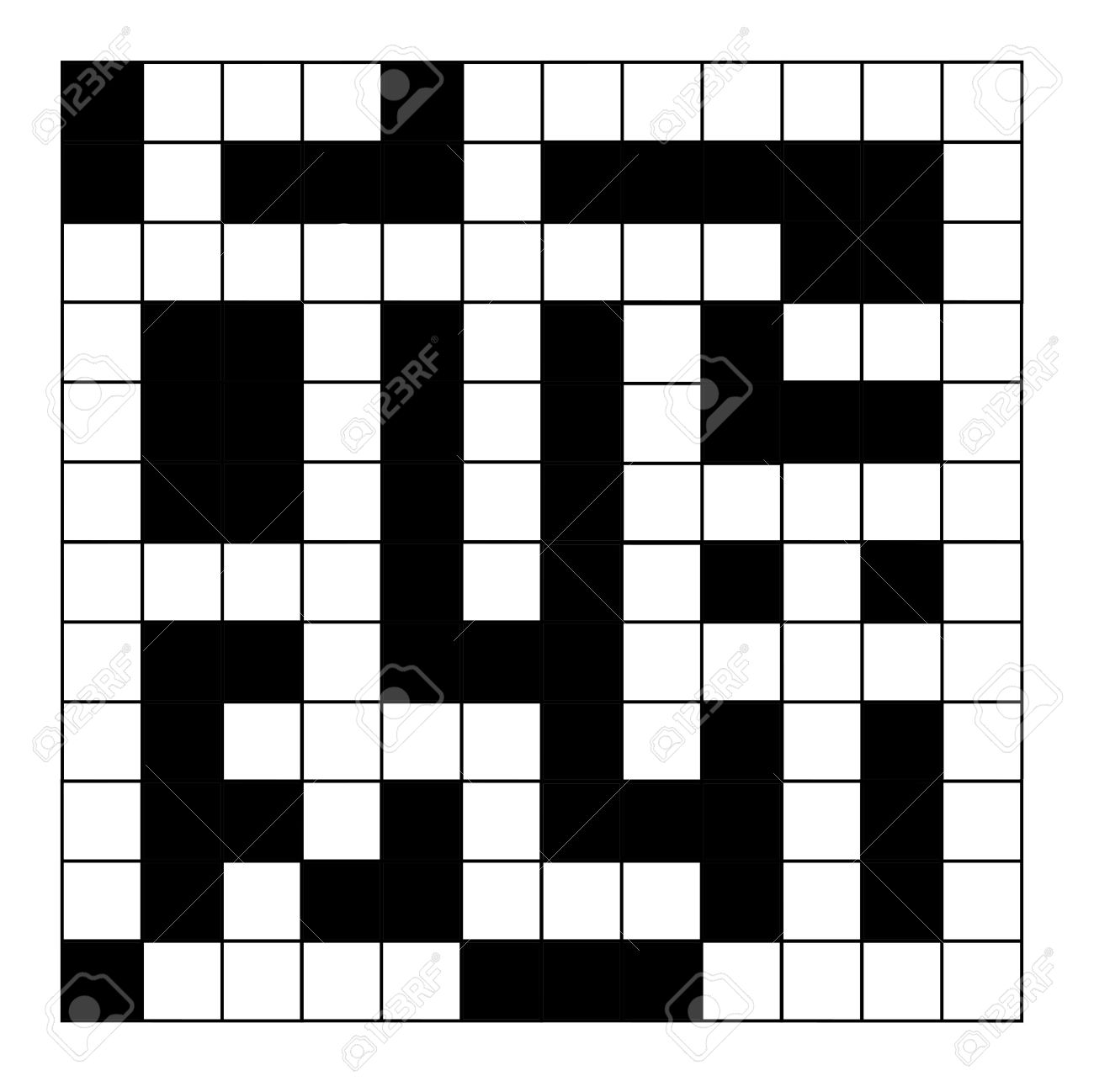 Blank Crossword Puzzle Isolated On White Background Stock Photo 1300x1298