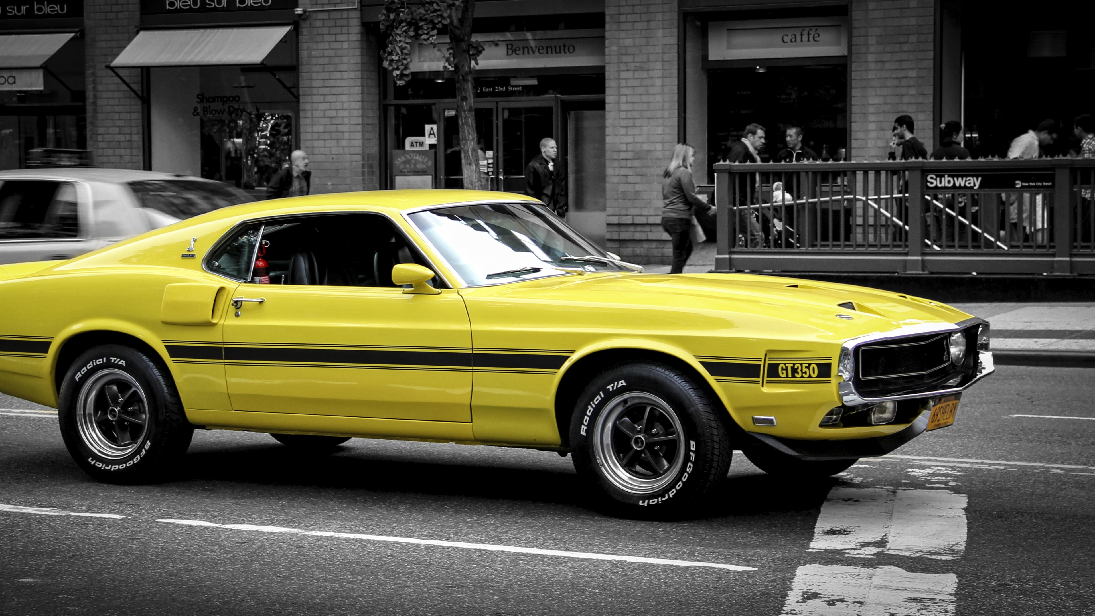 Wallpaper 3840x2160 ford mustang gt muscle car yellow side view 4K 3840x2160