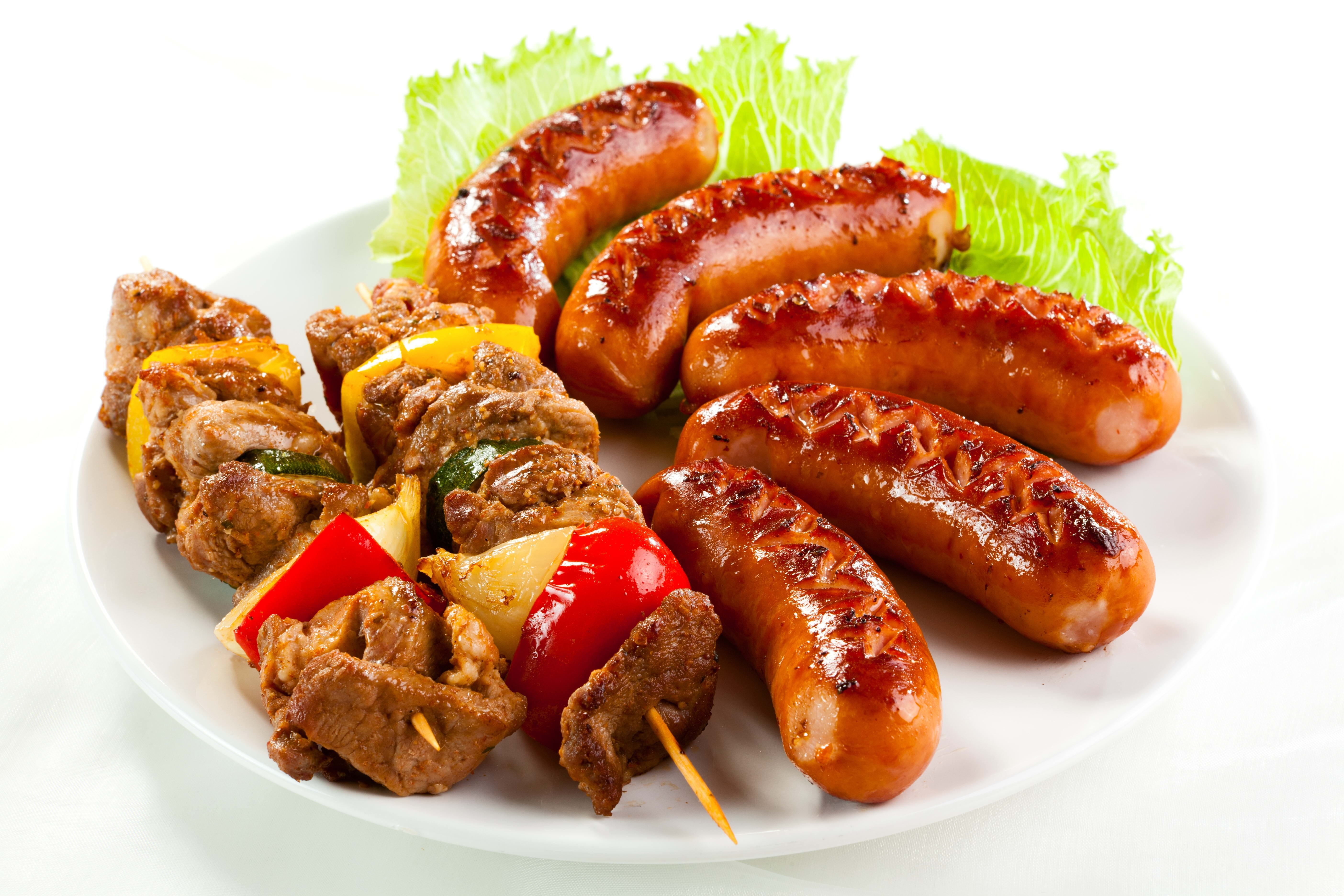 Download wallpaper 5616x3744 kebabs sausages herbs plate white 5616x3744