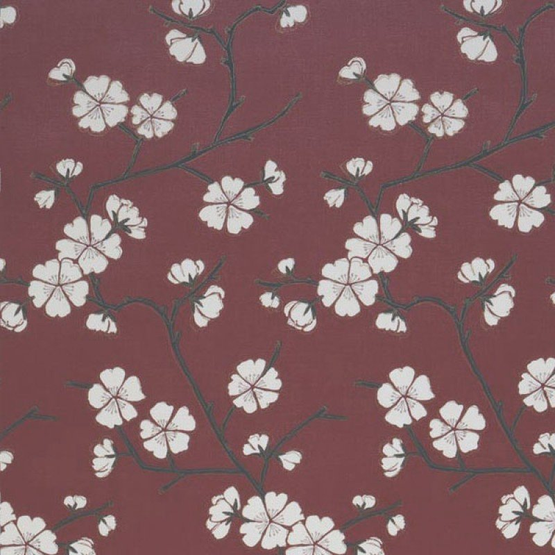 Coral Oriental Blossom Wallpaper Red Cream Charcoal by GranDeco 800x800