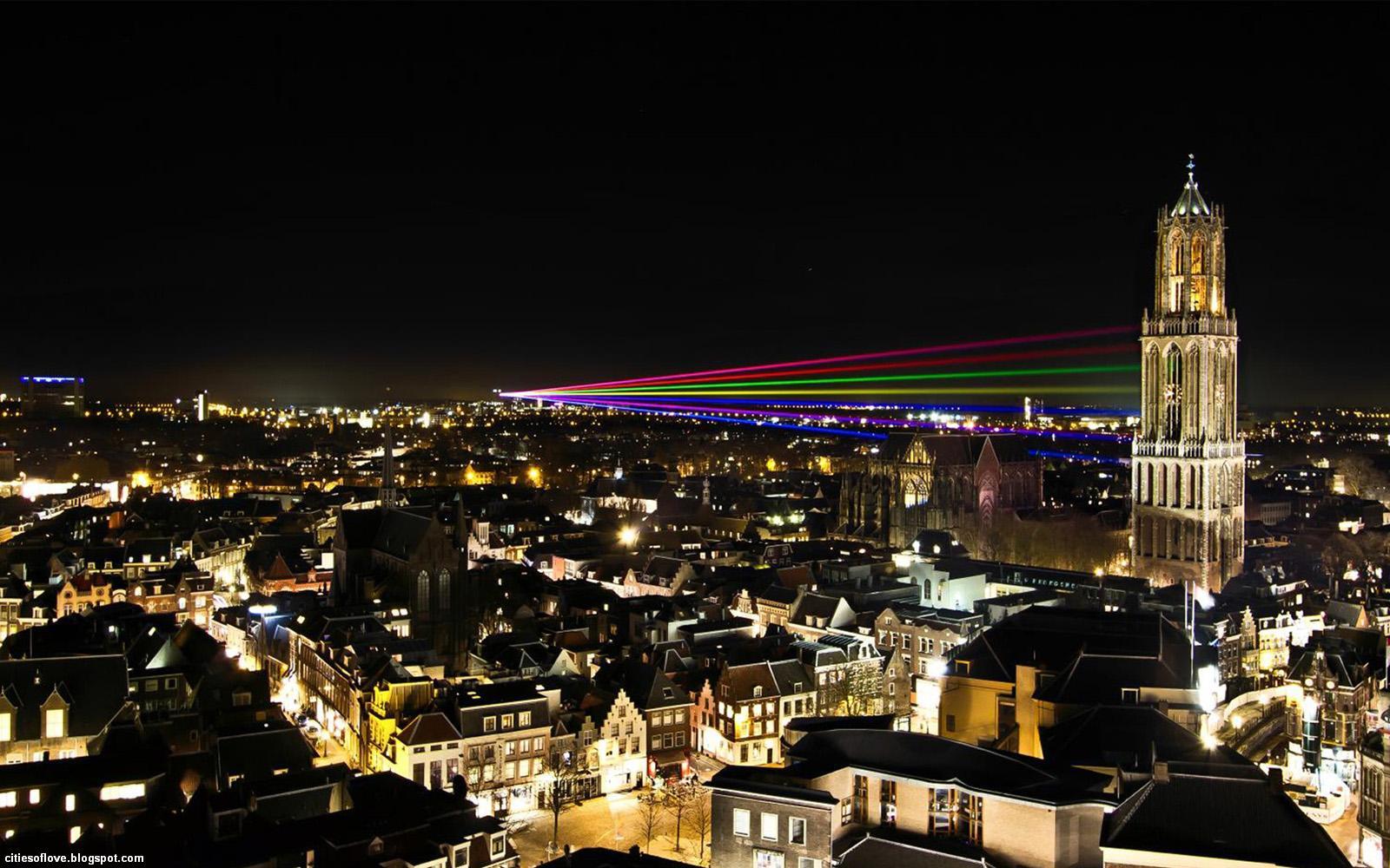 Wonderful Dutch City Night Lights Netherlands Hd Desktop Wallpaper 1600x1000