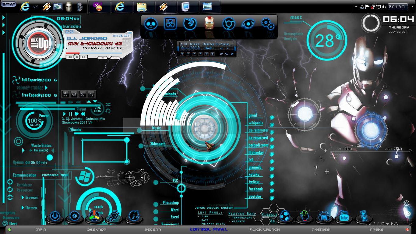 Iron Man Windows 7 Theme 2011 by jeromegamit 1366x768