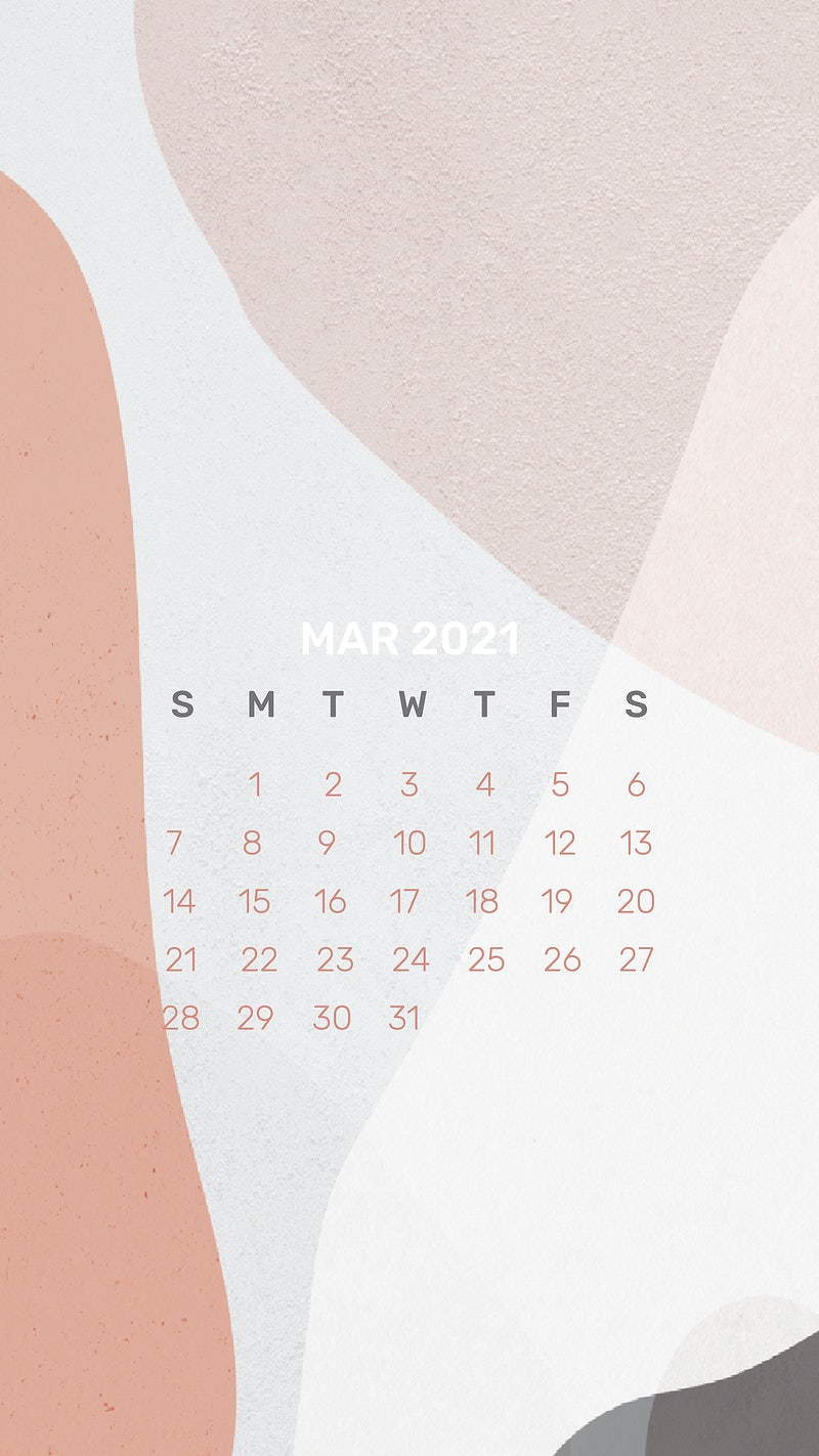 Calendar 2021 March template phone wallpaper vector abstract