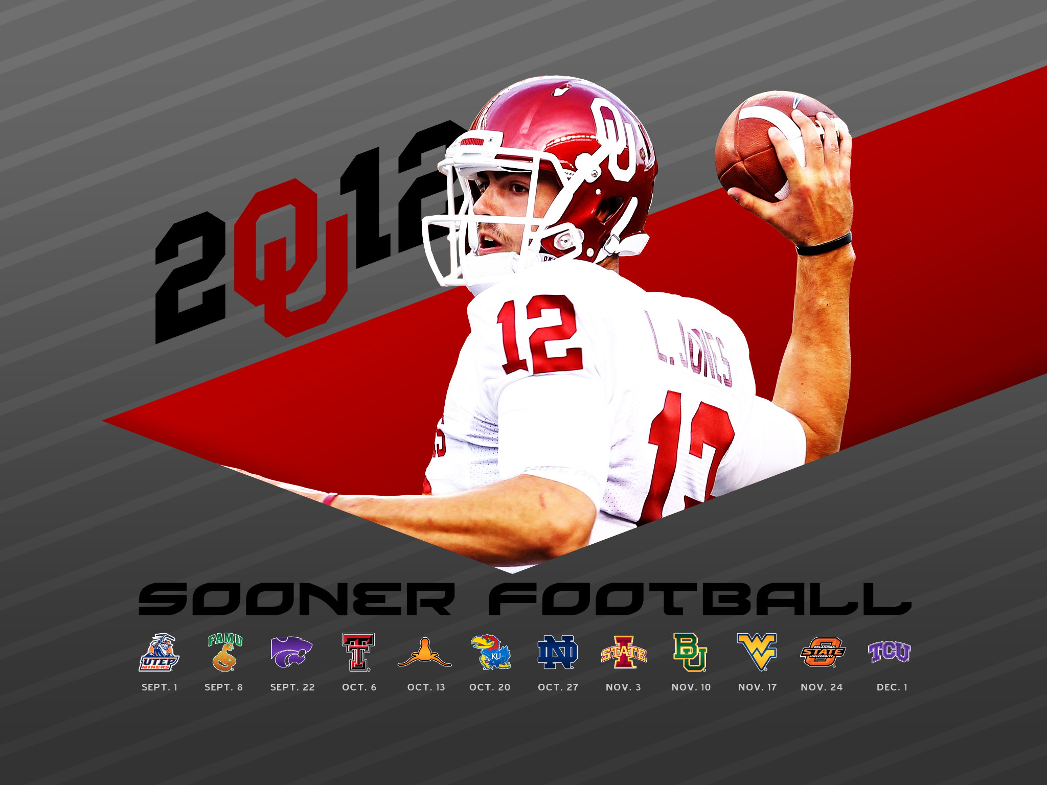 2012 OU Football Schedule Wallpaper for iPhone iPad 2048x1536