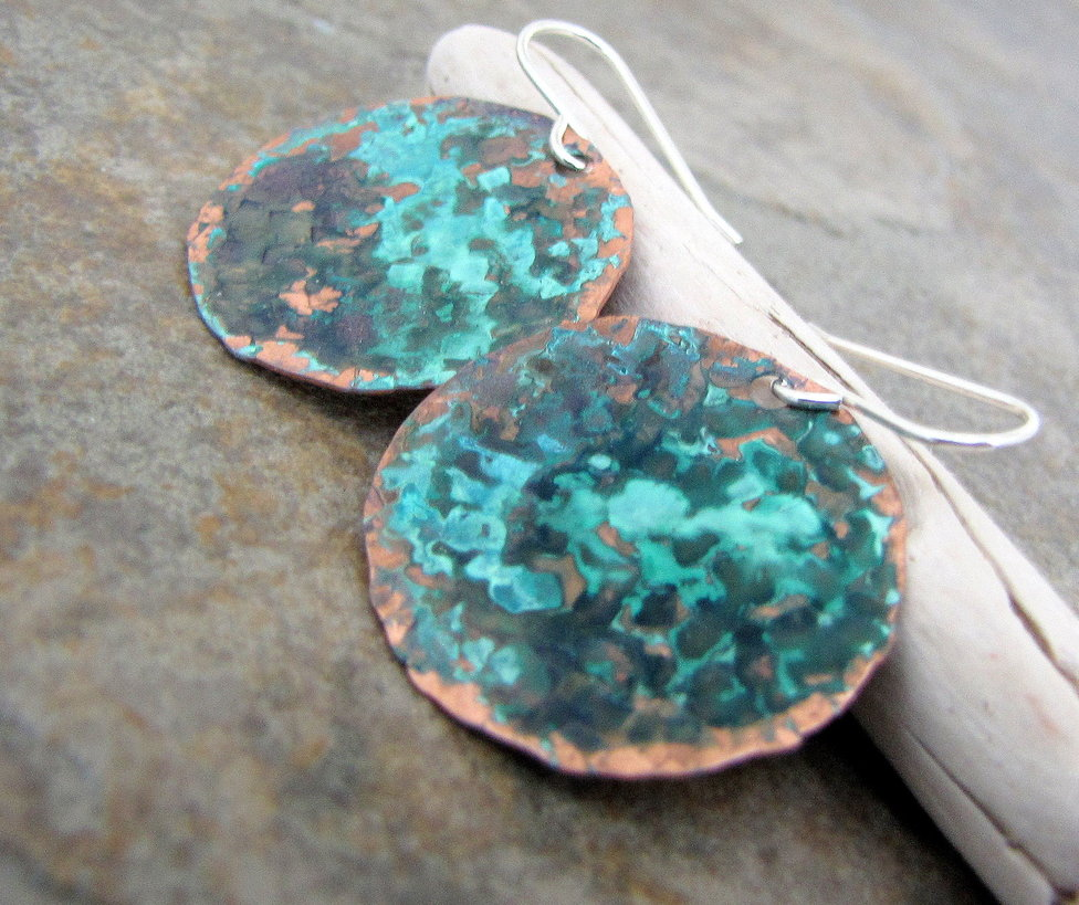 Hammered Copper Teal Earrings by SilverSmack 976x819