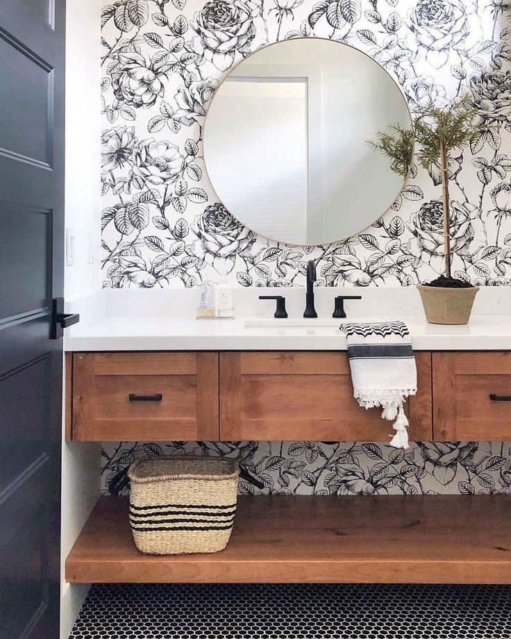 Modern farmhouse bathroom with floral wallpaper   love this 736x920