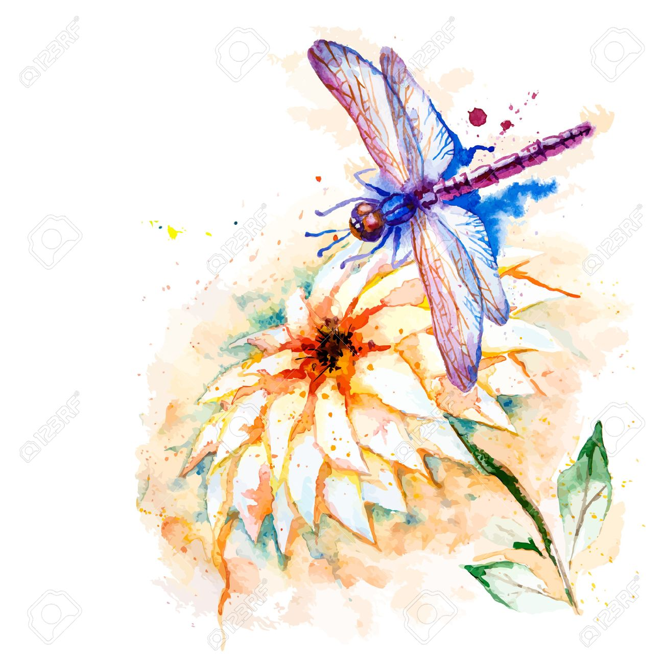 Vector Greeting Background With Beautiful Watercolor Flying Violet 1300x1300
