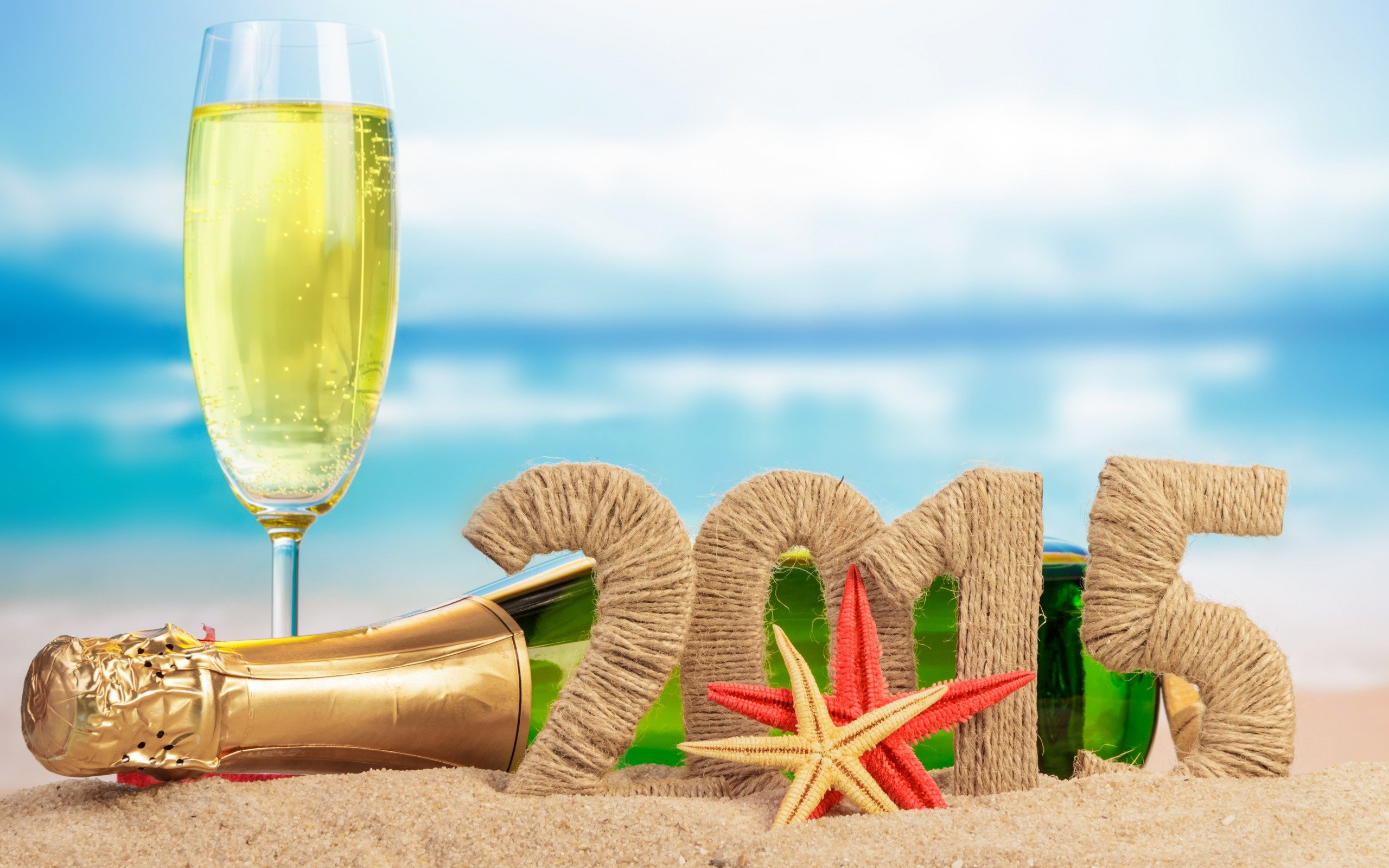 Drink And Sand Beach Happy New Year 2015 Wallpapers Desktop 2560x1600