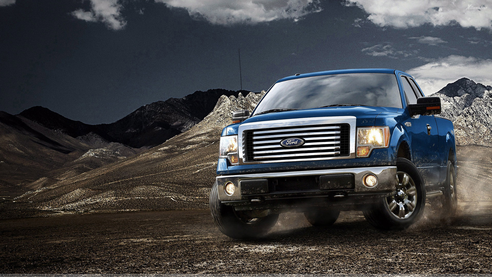 2012 Ford F 150 in Blue Near Mountains Wallpaper 1920x1080