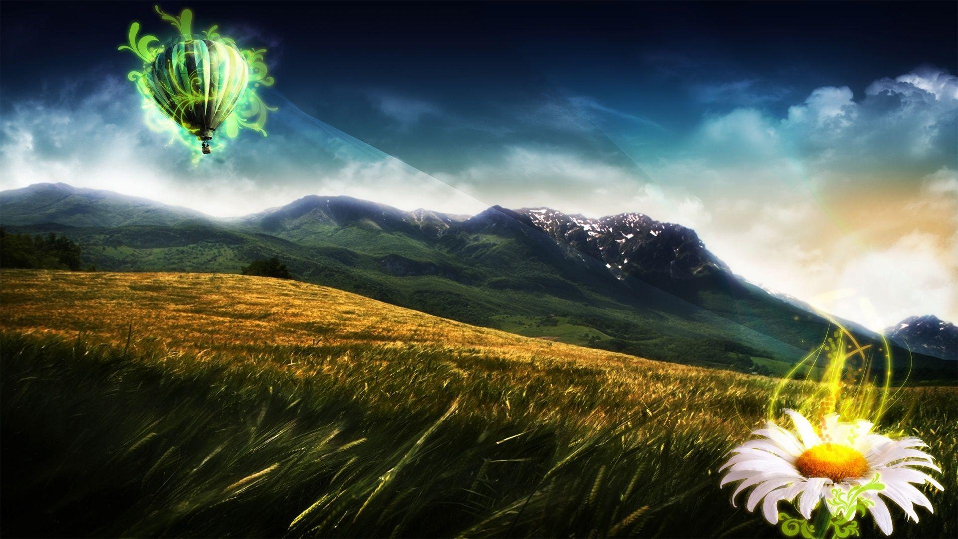 3D Landscape Mountain Balloon Ride picture nr 60703 1920x1080