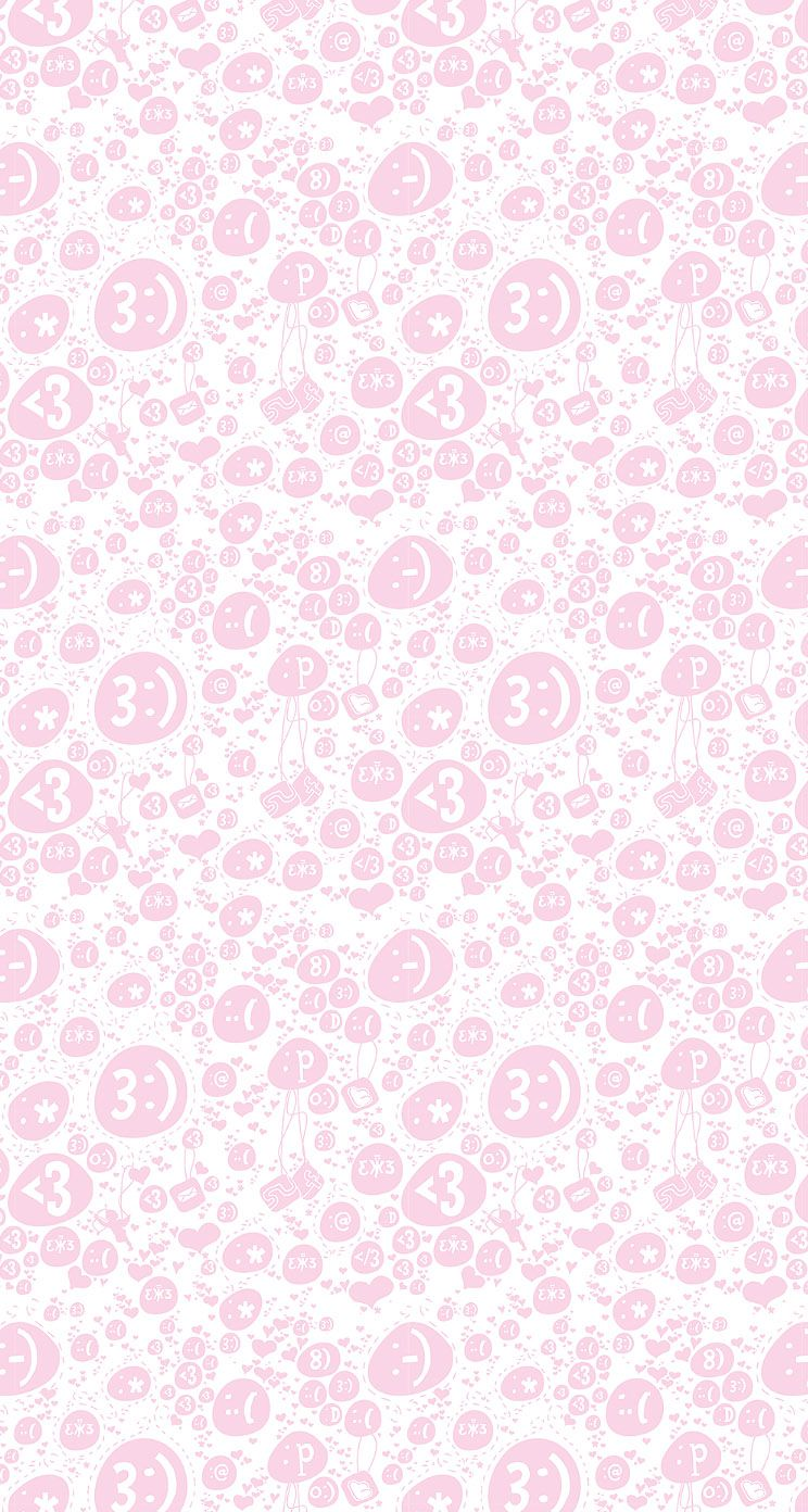 Emoticon Charms   Cute background pattern iPhone wallpaper 744x1392