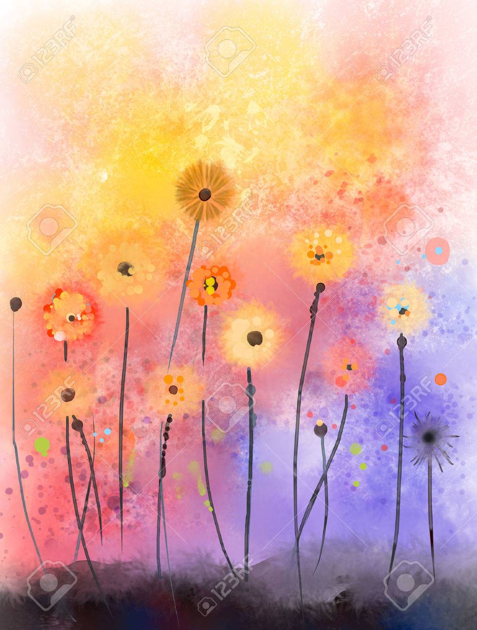 Abstract Floral Watercolor PaintingsRed Flowers In Soft Color 983x1300