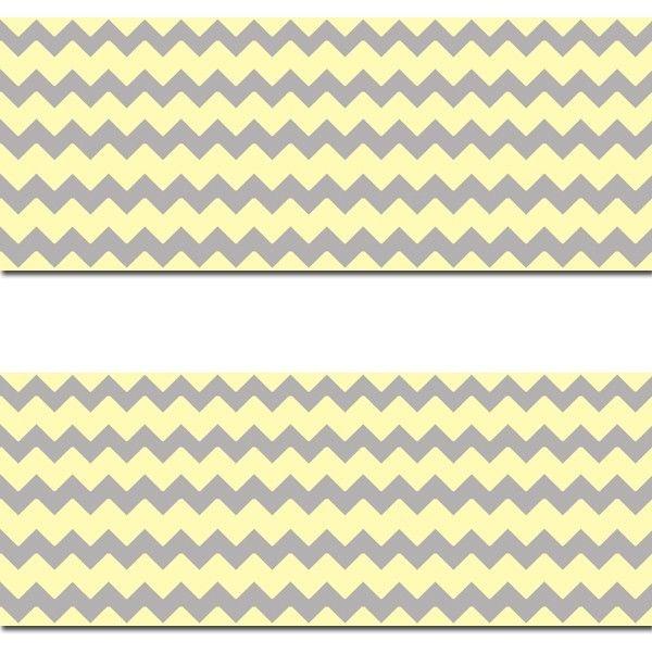 Yellow Grey Gray Chevron Wallpaper Border Wall Decal Baby Girl Boy 600x601