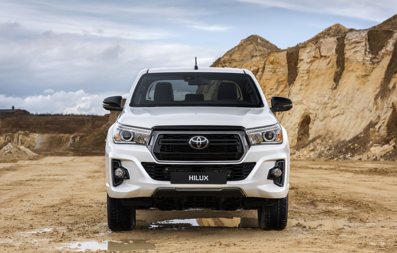 Wallpaper white puddles Toyota front view pickup Hilux 1332x850