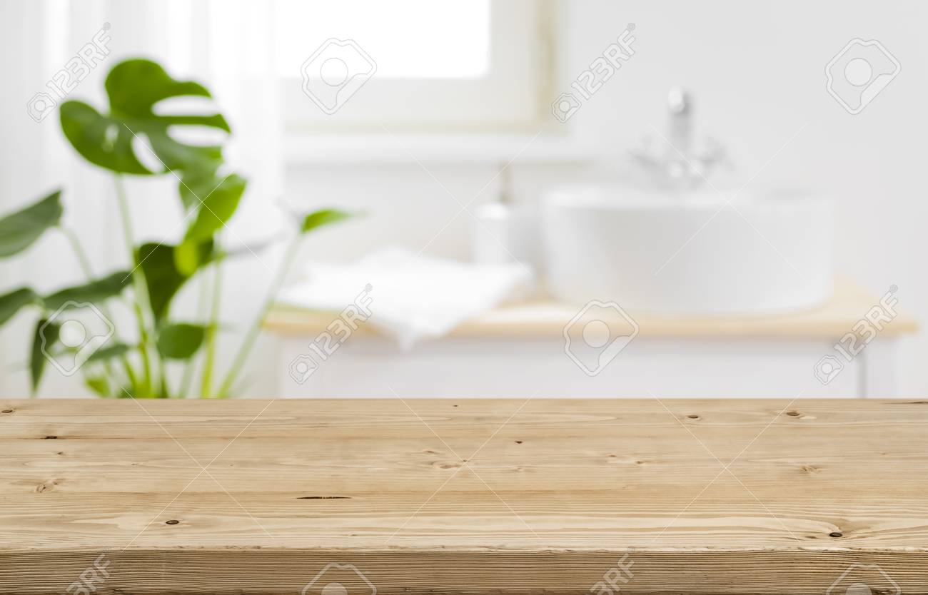 Empty Tabletop For Product Display With Blurred Bathroom Interior 1300x834