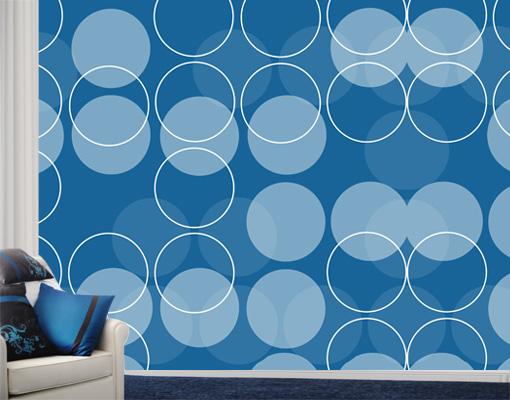 Wall Mural In Orbit Wallpaper Wall art Wall decor Circles Blue Modern 510x400