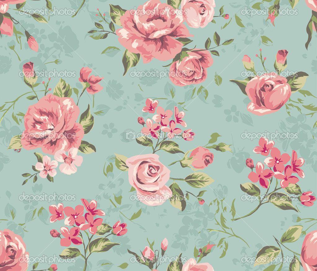 Free Download Wallpapers For Blue Vintage Floral Backgrounds