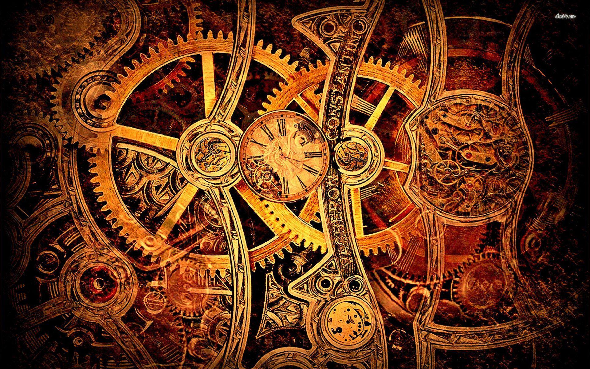 Vintage mechanism wallpaper SteampunkTim Burton styles 1920x1200
