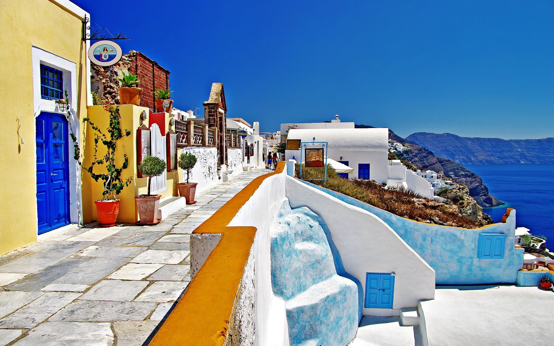 Wallpaper Santorini Greece street houses white style 1920x1200 1920x1200