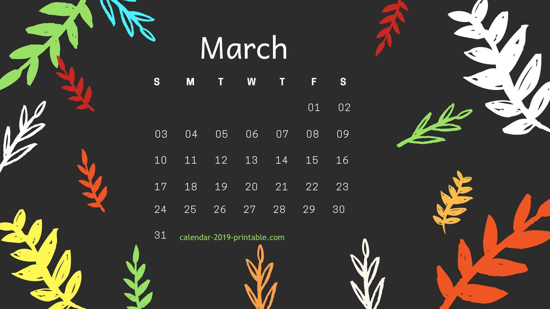 march 2019 hd calendar wallpaper Desktop wallpaper calendar 1920x1080