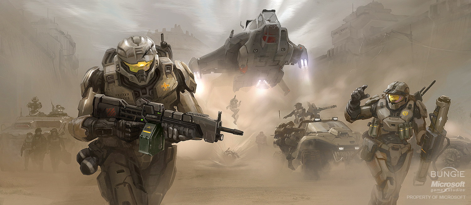 Gears of Halo Halo Concept Art by various Bungie Artists 1500x653