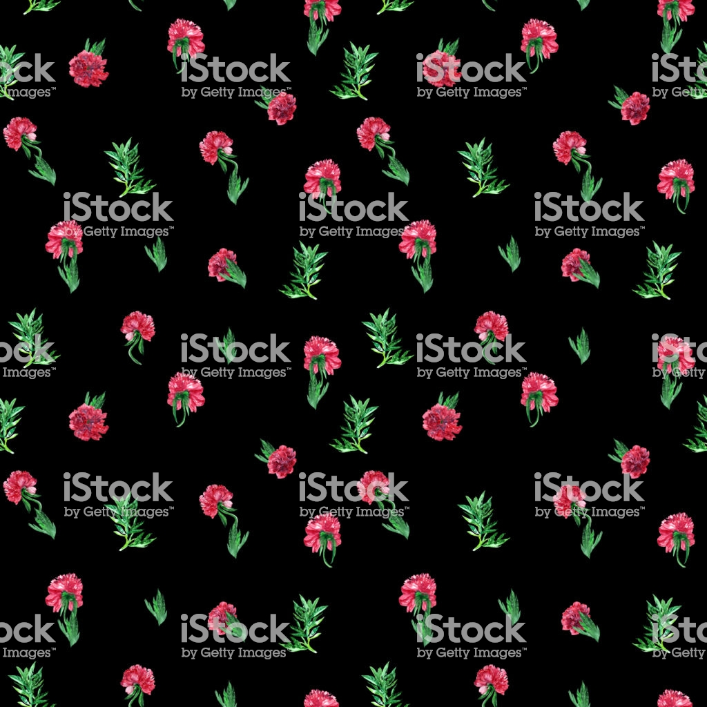Smallest Floral Pattern Red Peony And Leaves Watercolor Background 1024x1024